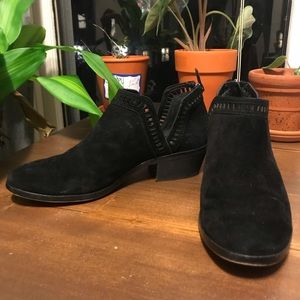 Black suede cut out short booties
